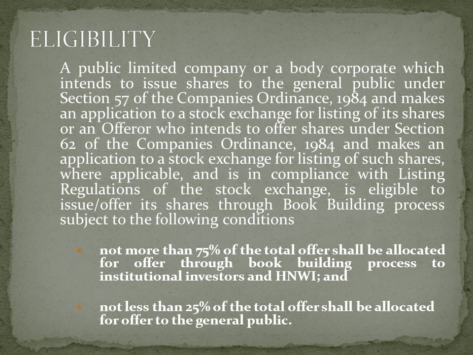 A public limited company or a body corporate which intends to issue shares to the general public under Section 57 of the Companies Ordinance, 1984 and