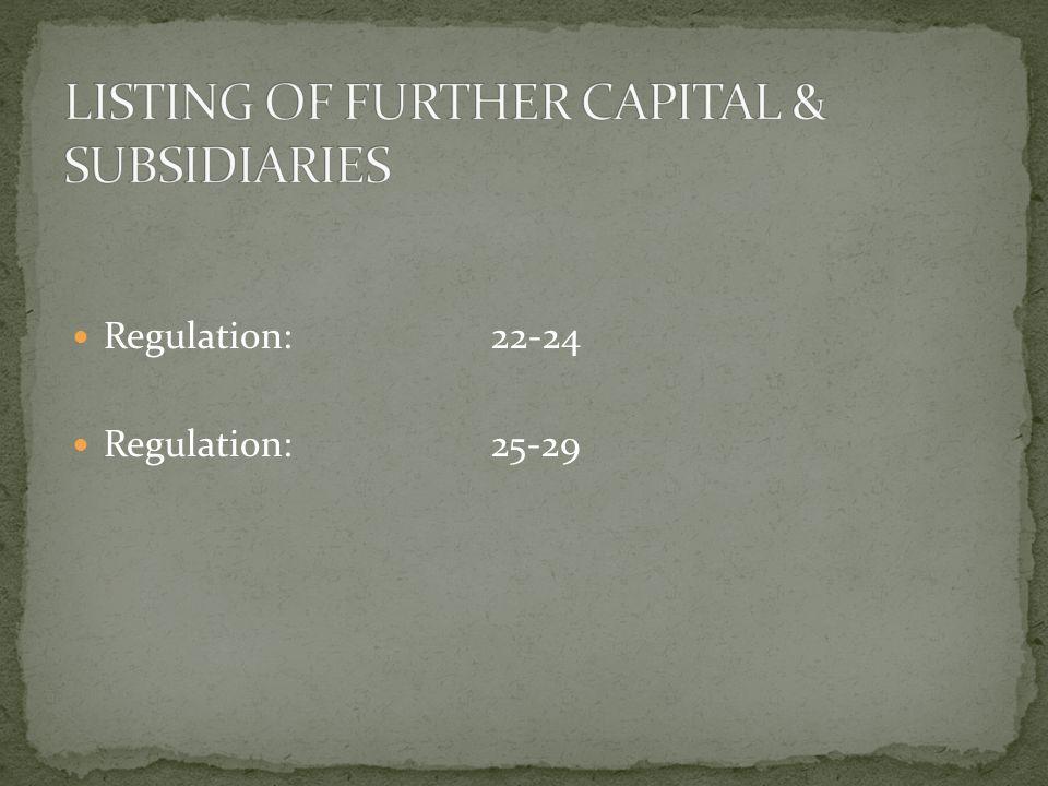 Regulation:22-24 Regulation:25-29