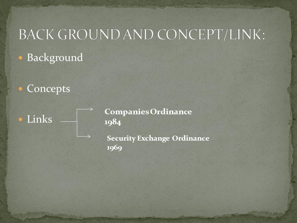 Background Concepts Links Companies Ordinance 1984 Security Exchange Ordinance 1969