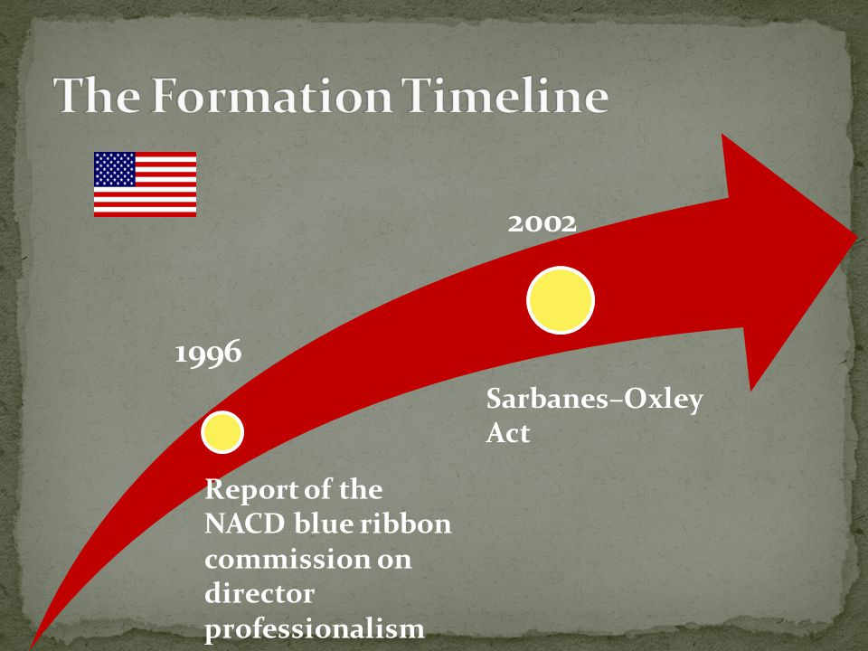 1996 Sarbanes–Oxley Act 2002 Report of the NACD blue ribbon commission on director professionalism