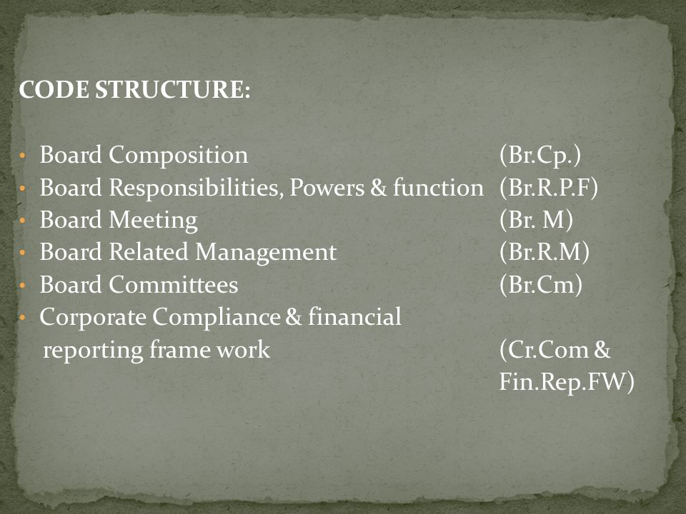 CODE STRUCTURE: Board Composition(Br.Cp.) Board Responsibilities, Powers & function(Br.R.P.F) Board Meeting (Br. M) Board Related Management(Br.R.M) B