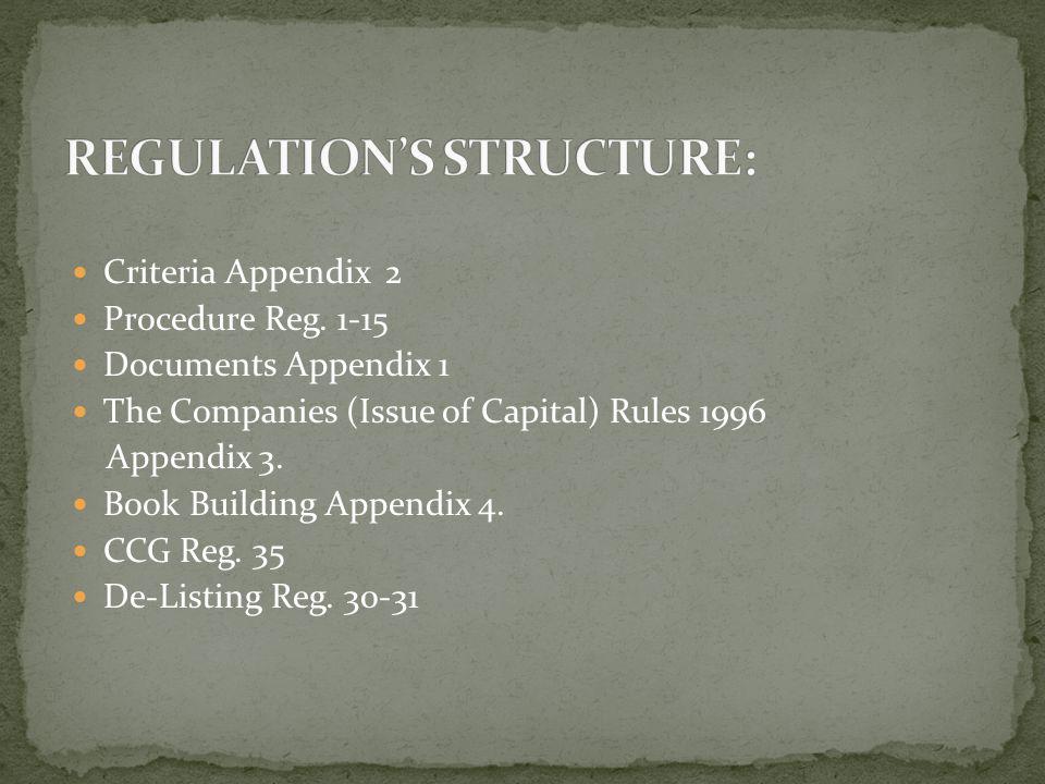 Criteria Appendix 2 Procedure Reg. 1-15 Documents Appendix 1 The Companies (Issue of Capital) Rules 1996 Appendix 3. Book Building Appendix 4. CCG Reg