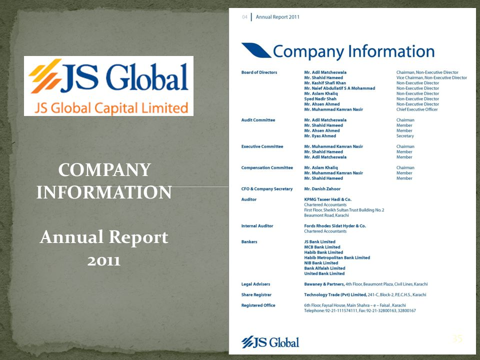 COMPANY INFORMATION Annual Report 2011 35