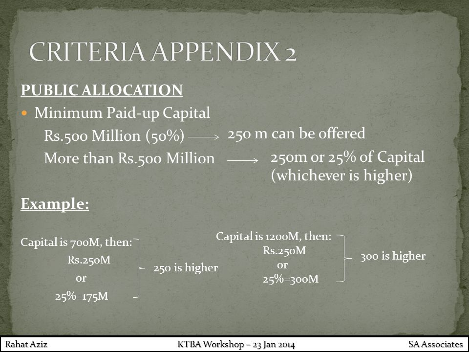 PUBLIC ALLOCATION Minimum Paid-up Capital Rs.500 Million (50%) More than Rs.500 Million Example: Capital is 700M, then: Rs.250M or 25%=175M 250 m can