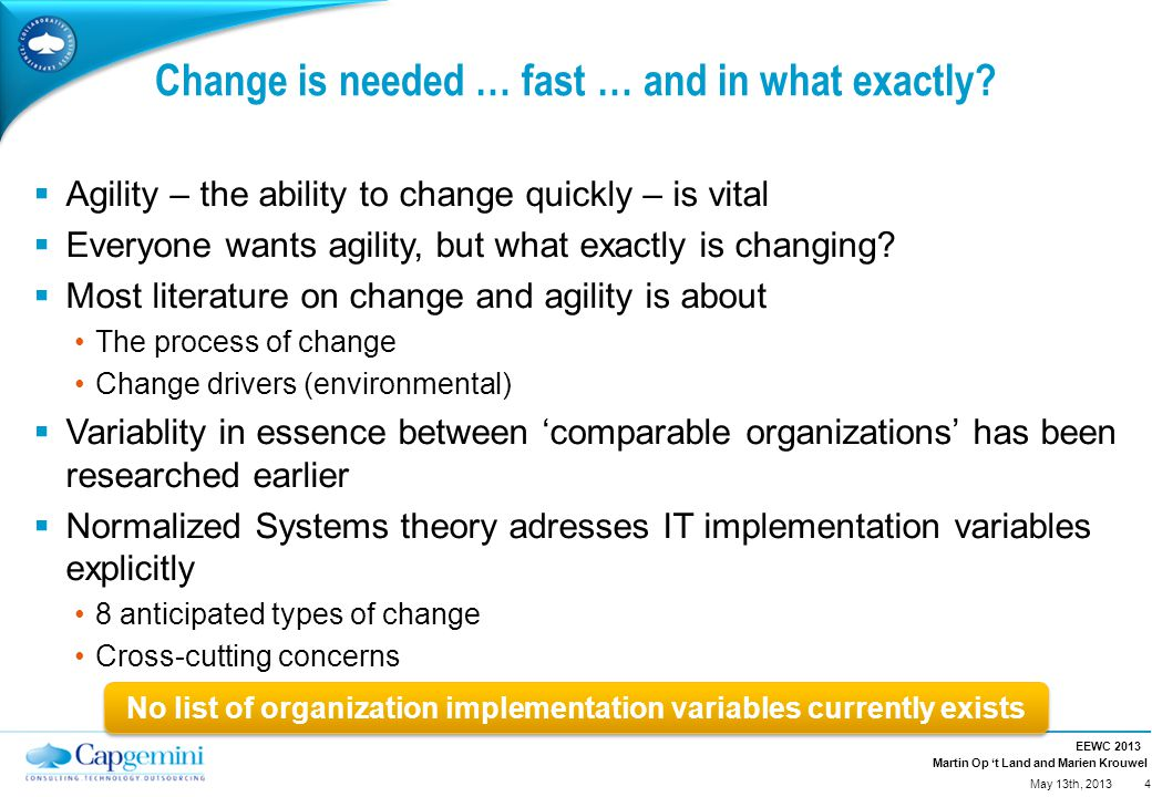 Martin Op 't Land and Marien Krouwel Change is needed … fast … and in what exactly?  Agility – the ability to change quickly – is vital  Everyone wa