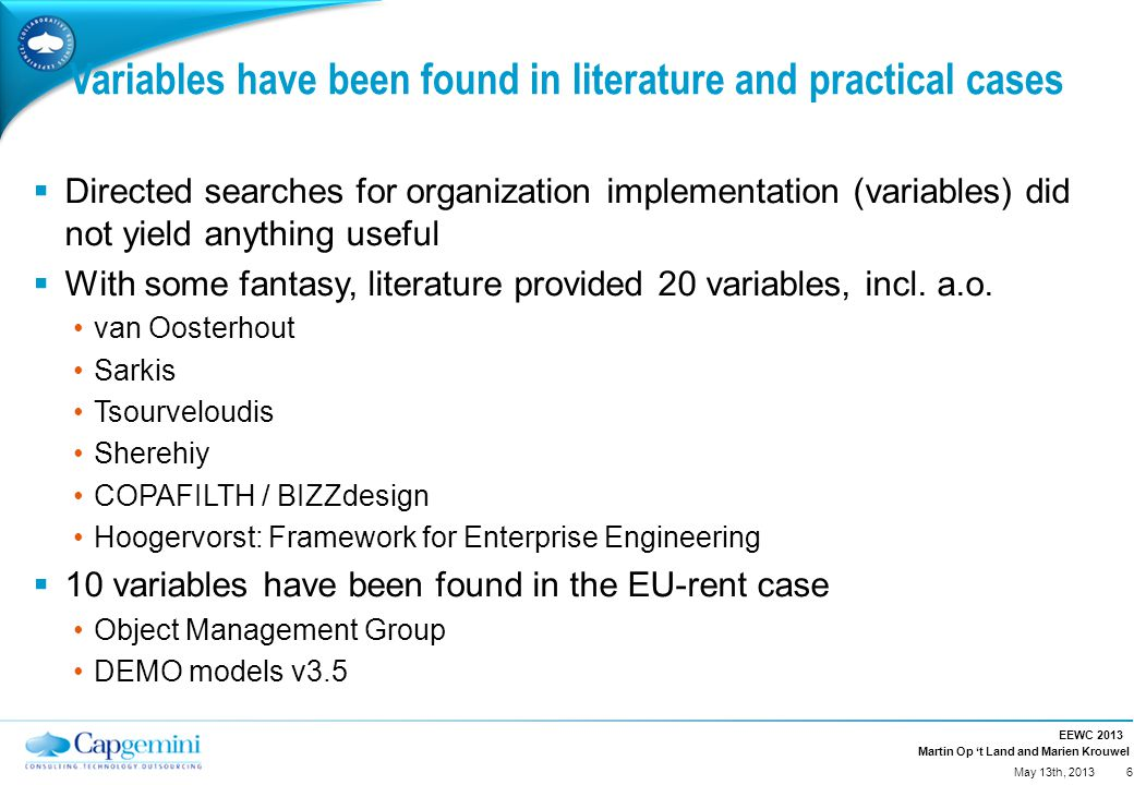 Martin Op 't Land and Marien Krouwel Variables have been found in literature and practical cases  Directed searches for organization implementation (variables) did not yield anything useful  With some fantasy, literature provided 20 variables, incl.