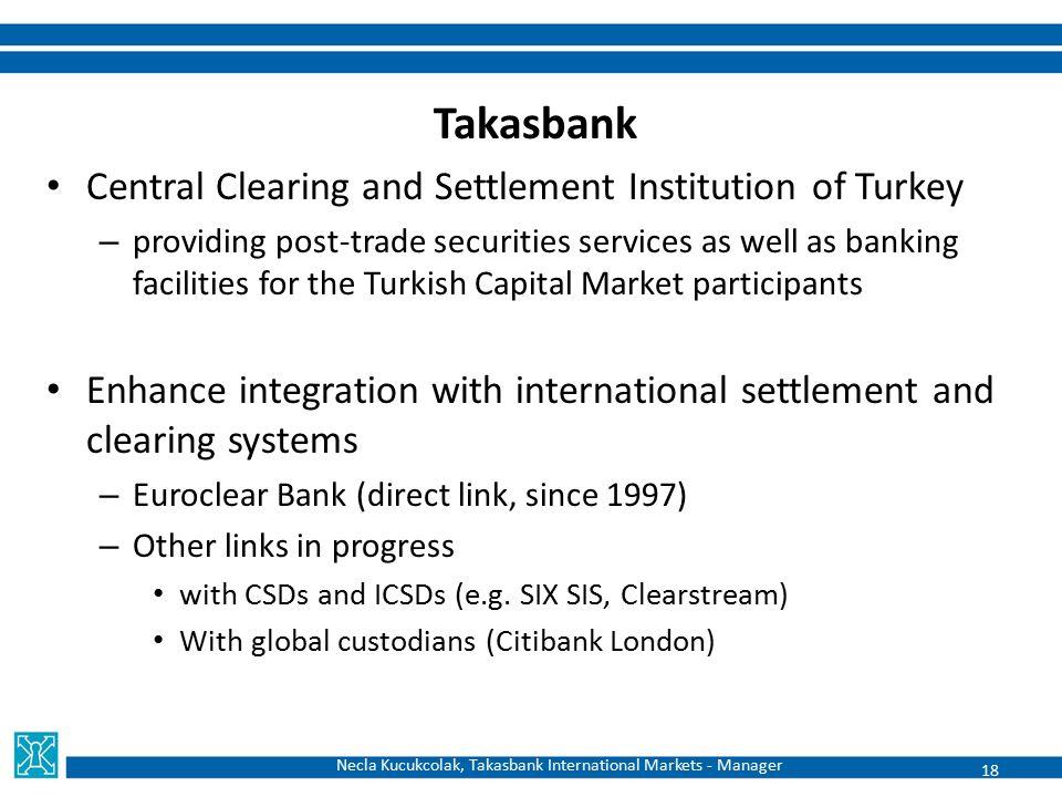 Necla Kucukcolak, Takasbank International Markets - Manager Takasbank Central Clearing and Settlement Institution of Turkey – providing post-trade sec