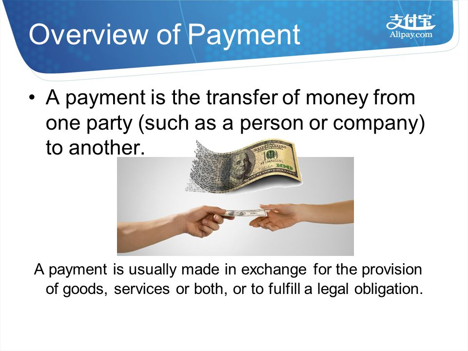 Overview of Payment A payment is the transfer of money from one party (such as a person or company) to another.