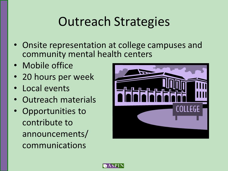 Outreach Strategies Onsite representation at college campuses and community mental health centers Mobile office 20 hours per week Local events Outreach materials Opportunities to contribute to announcements/ communications