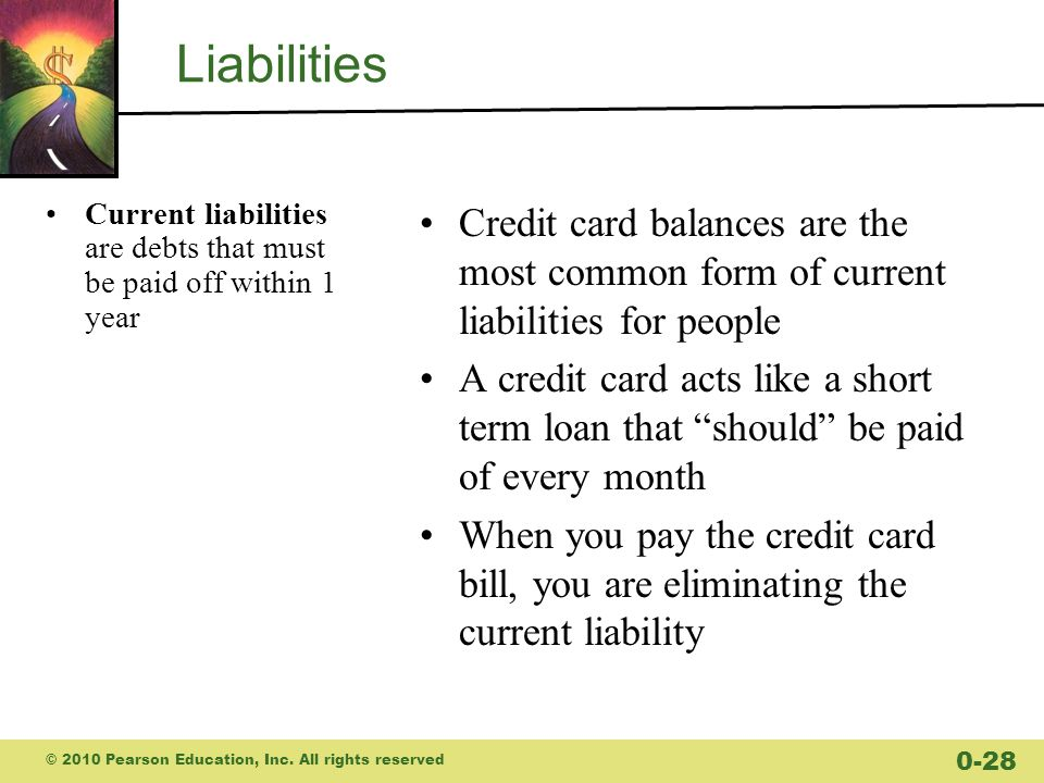 Liabilities Current liabilities are debts that must be paid off within 1 year Credit card balances are the most common form of current liabilities for people A credit card acts like a short term loan that should be paid of every month When you pay the credit card bill, you are eliminating the current liability © 2010 Pearson Education, Inc.