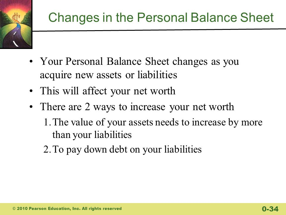 Changes in the Personal Balance Sheet Your Personal Balance Sheet changes as you acquire new assets or liabilities This will affect your net worth There are 2 ways to increase your net worth 1.The value of your assets needs to increase by more than your liabilities 2.To pay down debt on your liabilities © 2010 Pearson Education, Inc.
