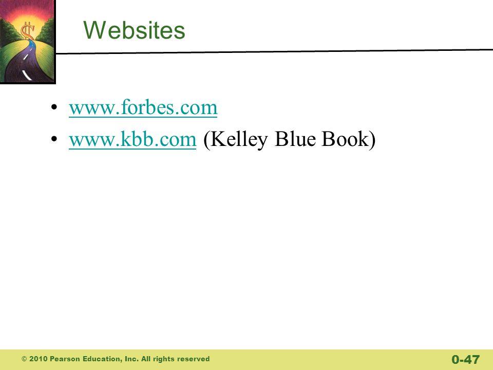 Websites www.forbes.com www.kbb.com (Kelley Blue Book)www.kbb.com © 2010 Pearson Education, Inc.