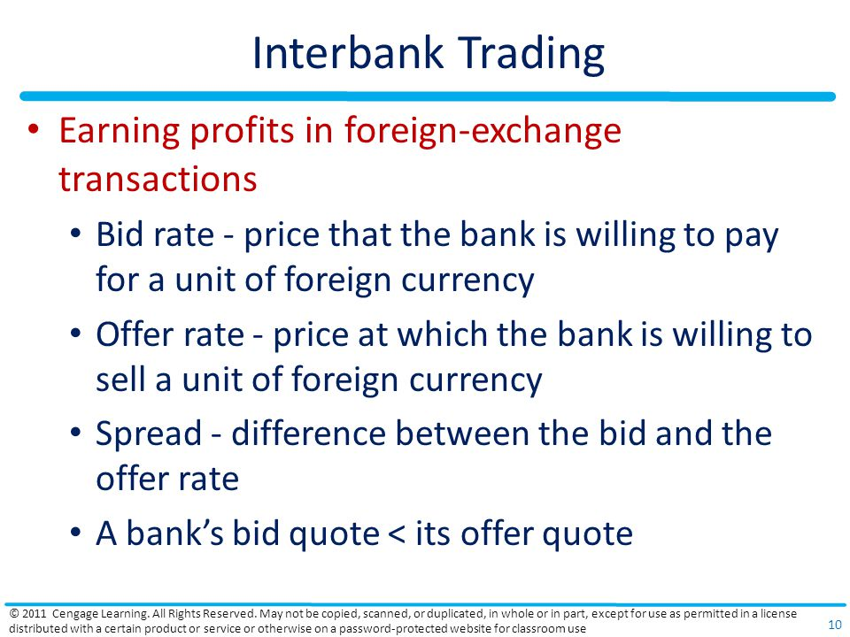 Interbank Trading Earning profits in foreign-exchange transactions Bid rate - price that the bank is willing to pay for a unit of foreign currency Offer rate - price at which the bank is willing to sell a unit of foreign currency Spread - difference between the bid and the offer rate A bank's bid quote < its offer quote © 2011 Cengage Learning.