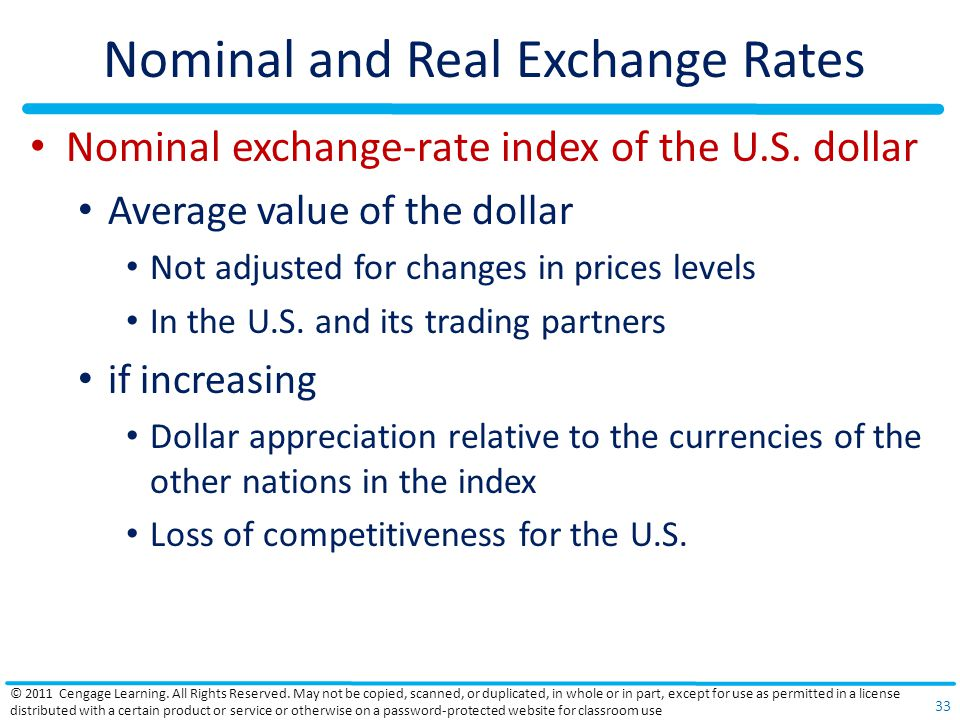 Nominal and Real Exchange Rates Nominal exchange-rate index of the U.S. dollar Average value of the dollar Not adjusted for changes in prices levels I