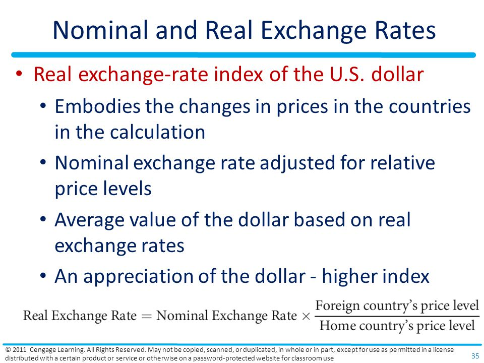 Nominal and Real Exchange Rates Real exchange-rate index of the U.S.