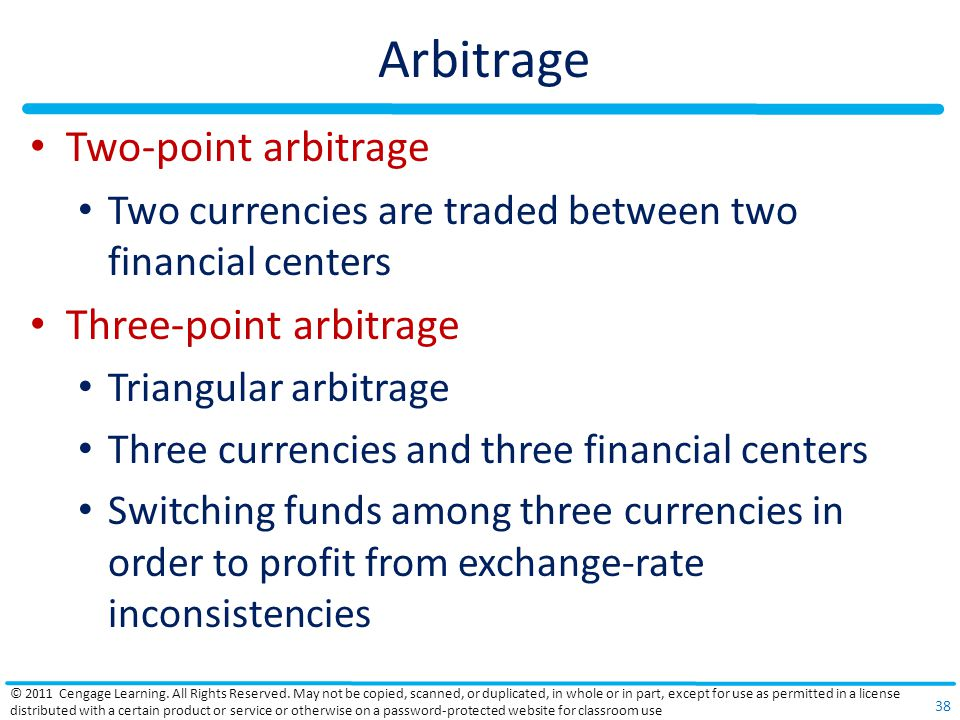 Arbitrage Two-point arbitrage Two currencies are traded between two financial centers Three-point arbitrage Triangular arbitrage Three currencies and
