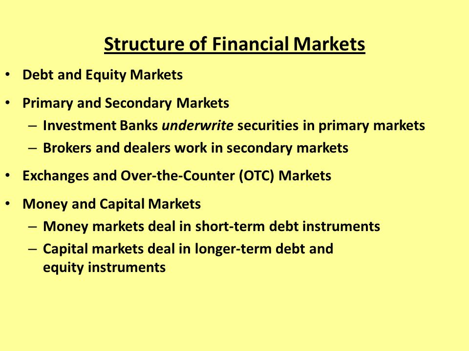 Structure of Financial Markets Debt and Equity Markets Primary and Secondary Markets – Investment Banks underwrite securities in primary markets – Bro