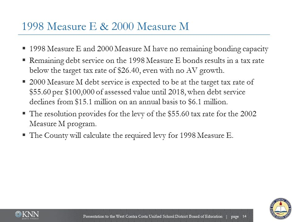 1998 Measure E & 2000 Measure M 14 Presentation to the West Contra Costa Unified School District Board of Education | page  1998 Measure E and 2000 M