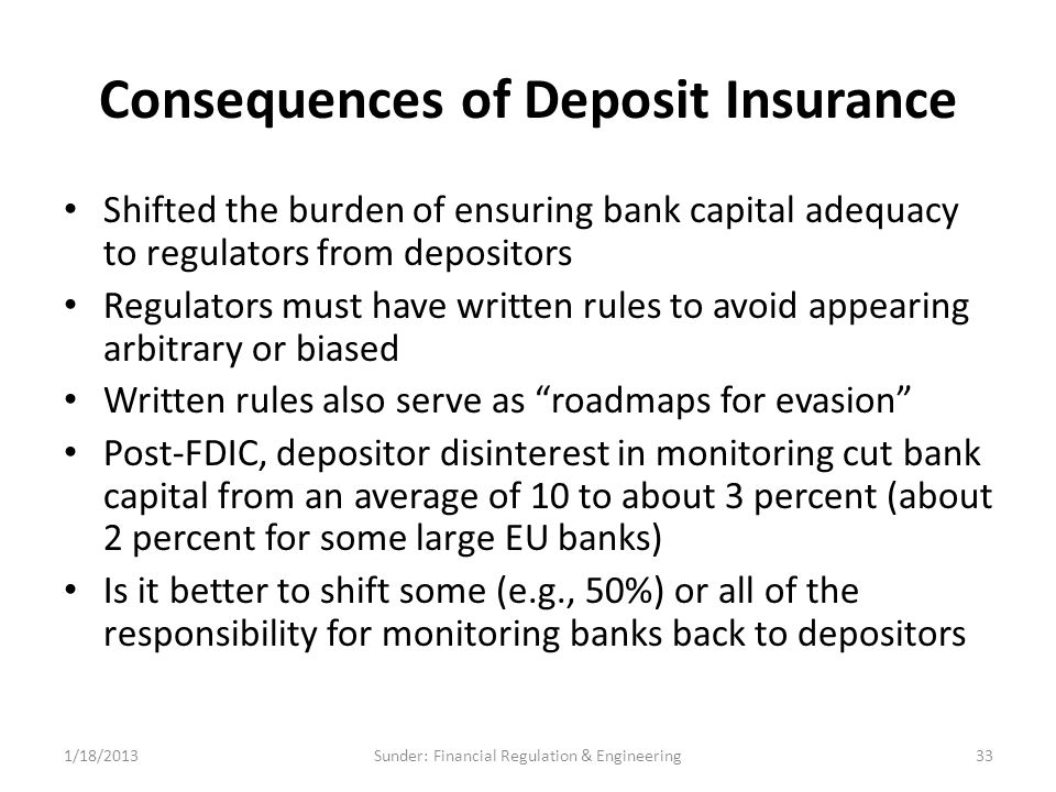 Consequences of Deposit Insurance Shifted the burden of ensuring bank capital adequacy to regulators from depositors Regulators must have written rules to avoid appearing arbitrary or biased Written rules also serve as roadmaps for evasion Post-FDIC, depositor disinterest in monitoring cut bank capital from an average of 10 to about 3 percent (about 2 percent for some large EU banks) Is it better to shift some (e.g., 50%) or all of the responsibility for monitoring banks back to depositors 1/18/201333Sunder: Financial Regulation & Engineering