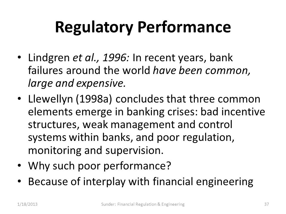 Regulatory Performance Lindgren et al., 1996: In recent years, bank failures around the world have been common, large and expensive.