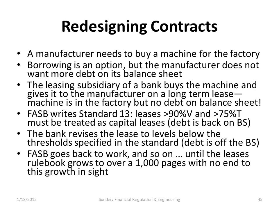 Redesigning Contracts A manufacturer needs to buy a machine for the factory Borrowing is an option, but the manufacturer does not want more debt on its balance sheet The leasing subsidiary of a bank buys the machine and gives it to the manufacturer on a long term lease— machine is in the factory but no debt on balance sheet.