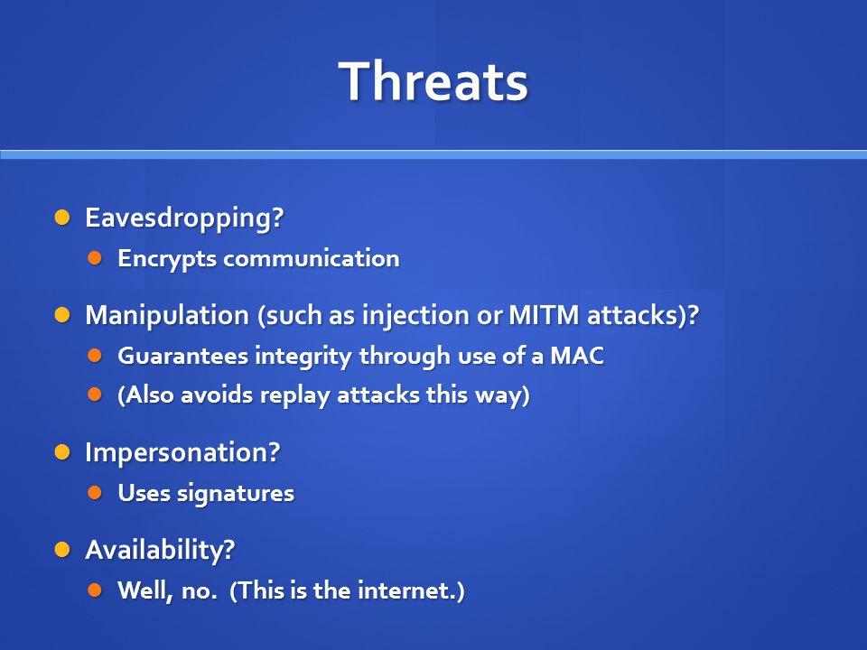 Threats Eavesdropping. Eavesdropping.