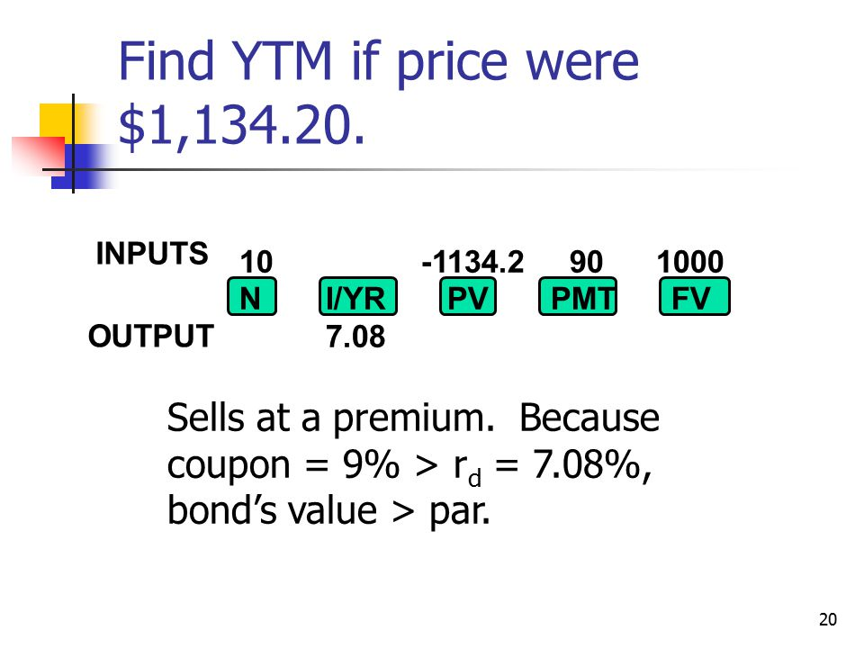20 Find YTM if price were $1,134.20. Sells at a premium.
