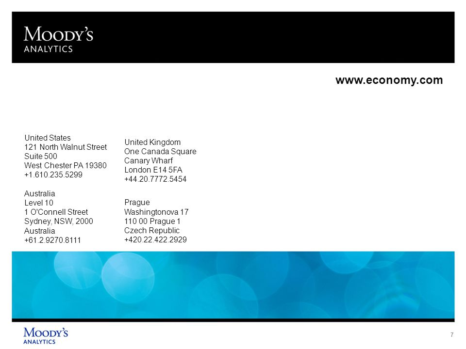 8 © 2013 Moody's Analytics, Inc.and/or its licensors and affiliates (collectively, MOODY'S ).