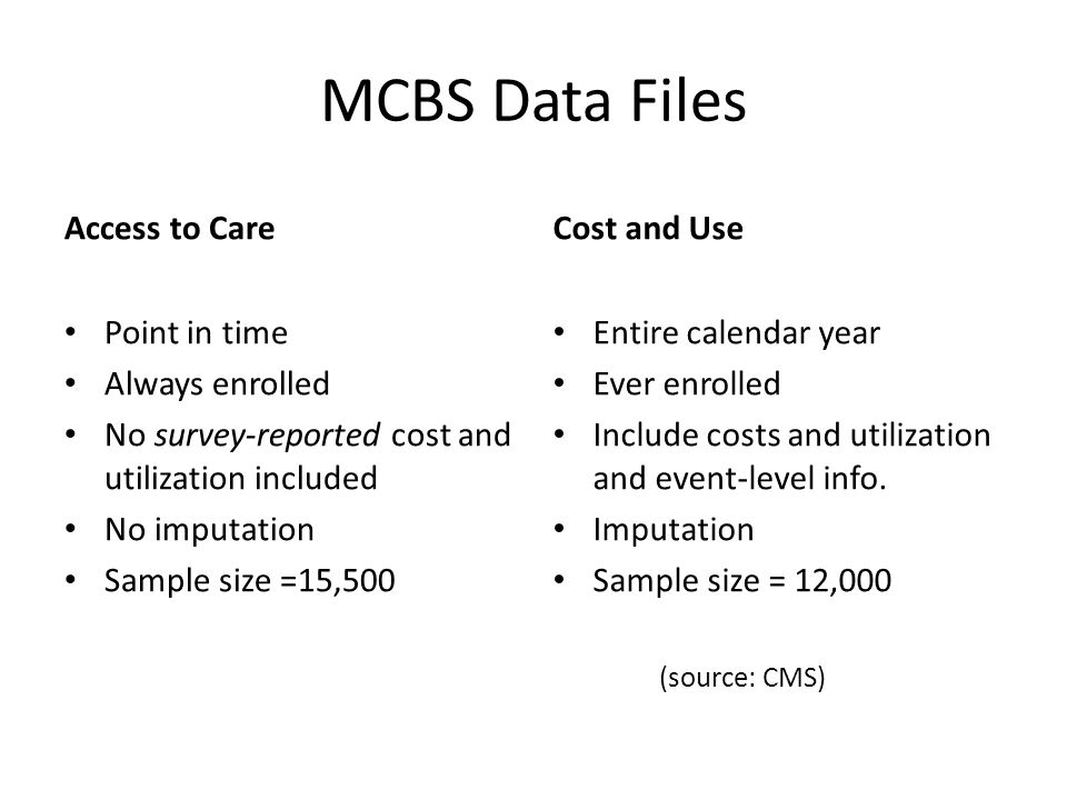 MCBS Data Files Access to Care Point in time Always enrolled No survey-reported cost and utilization included No imputation Sample size =15,500 Cost and Use Entire calendar year Ever enrolled Include costs and utilization and event-level info.