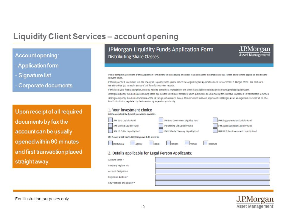 Liquidity Client Services – account opening 10 Account opening: - Application form - Signature list - Corporate documents Upon receipt of all required documents by fax the account can be usually opened within 90 minutes and first transaction placed straight away.