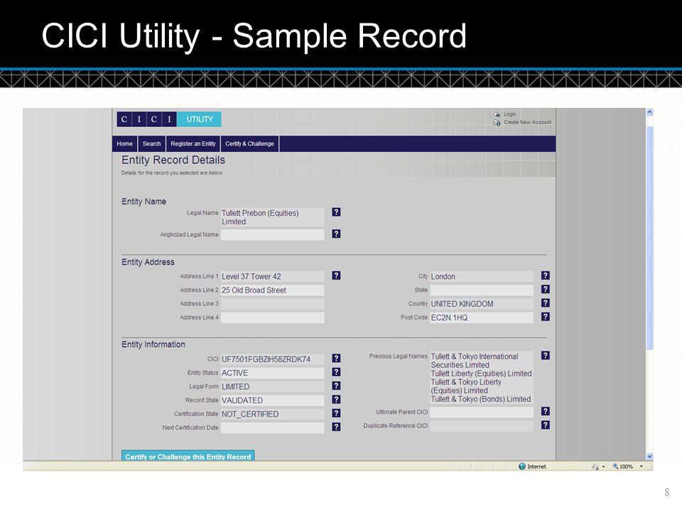 © DTCC CICI Utility - Sample Record 8