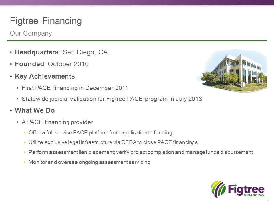Figtree Financing 4 Turn-key PACE solution: Commercial / Residential No cost: Turn-key solution doesn't cost your city or county anything No risk: Figtree offers full indemnification to cities and counties Public benefit: 100% upfront financing makes going green and saving money much easier for property owners Piece of Mind: Program utilizes industry best practices to ensure consumer are protected What we offer