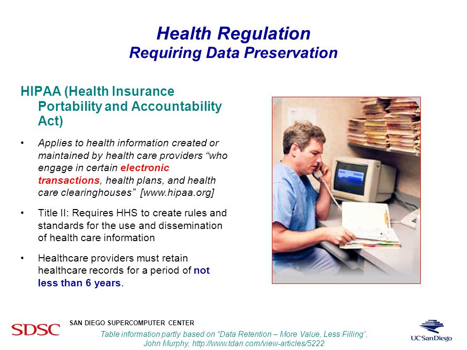 UCSD SAN DIEGO SUPERCOMPUTER CENTER Fran Berman Increasing Policy and Regulation Affecting Research Community RegulationsRetention RequirementPenalty HIPAARetain patient data for 6 years $250K fine and up to 10 years in prison Sarbanes-OxleyAuditors must retain relevant data for at least 7 years Fines to $5M and 20 years in prison Gramm-Leach- Baily Ensure confidentiality of customer financial information Up to $500K and 10 years in prison SEC 17aBroker data retention for 3-6 years.