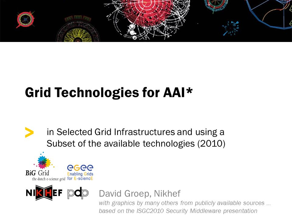 > Grid Technologies for AAI* in Selected Grid Infrastructures and using a Subset of the available technologies (2010) David Groep, Nikhef with graphics by many others from publicly available sources...