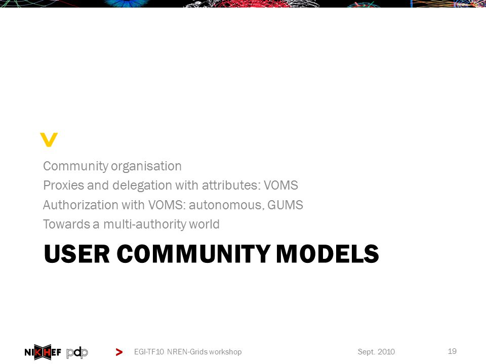 > > USER COMMUNITY MODELS Community organisation Proxies and delegation with attributes: VOMS Authorization with VOMS: autonomous, GUMS Towards a multi-authority world Sept.