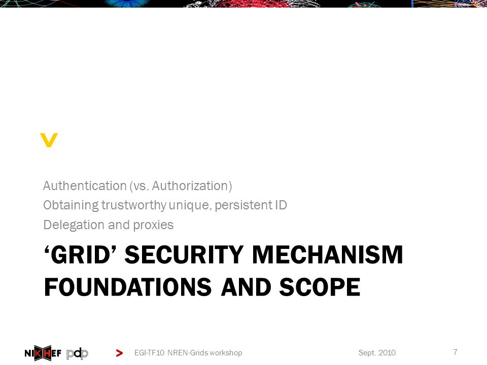> > 'GRID' SECURITY MECHANISM FOUNDATIONS AND SCOPE Authentication (vs.