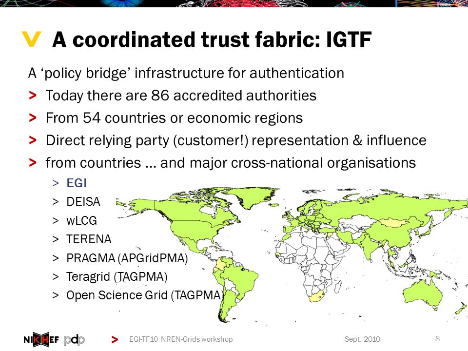> > A 'policy bridge' infrastructure for authentication >Today there are 86 accredited authorities >From 54 countries or economic regions >Direct relying party (customer!) representation & influence >from countries … and major cross-national organisations >EGI >DEISA >wLCG >TERENA >PRAGMA (APGridPMA) >Teragrid (TAGPMA) >Open Science Grid (TAGPMA) A coordinated trust fabric: IGTF Sept.