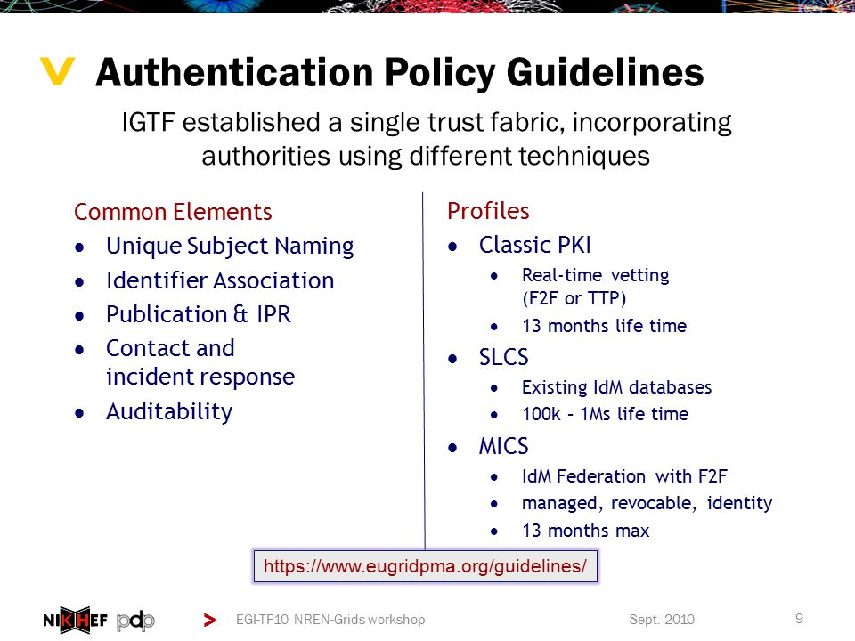 > > Relying Party Defined Namespace Constraints >Constrain name space to specified subject names >For now unique to Grids – but generic in concept >Allows trust in a policy-based bridge PKI infrastructure >Ensures a true globally unique, non re-used and persistent ID can be constructed..