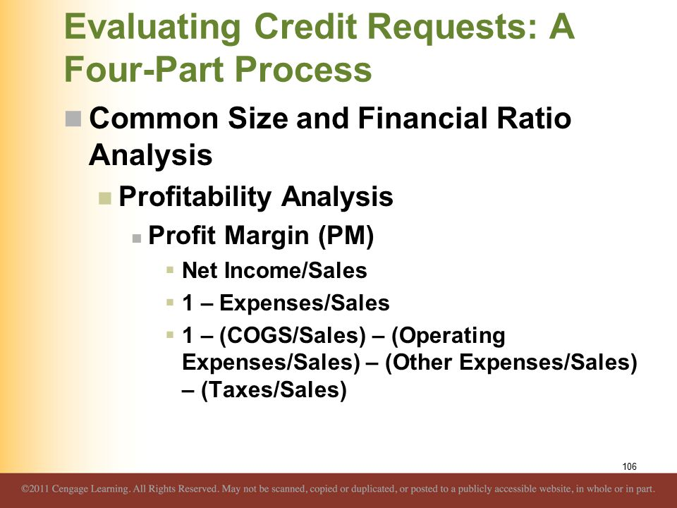 Evaluating Credit Requests: A Four-Part Process Common Size and Financial Ratio Analysis Profitability Analysis Profit Margin (PM)  Net Income/Sales