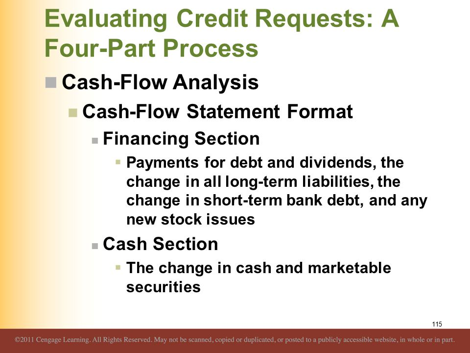 Evaluating Credit Requests: A Four-Part Process Cash-Flow Analysis Cash-Flow Statement Format Financing Section  Payments for debt and dividends, the
