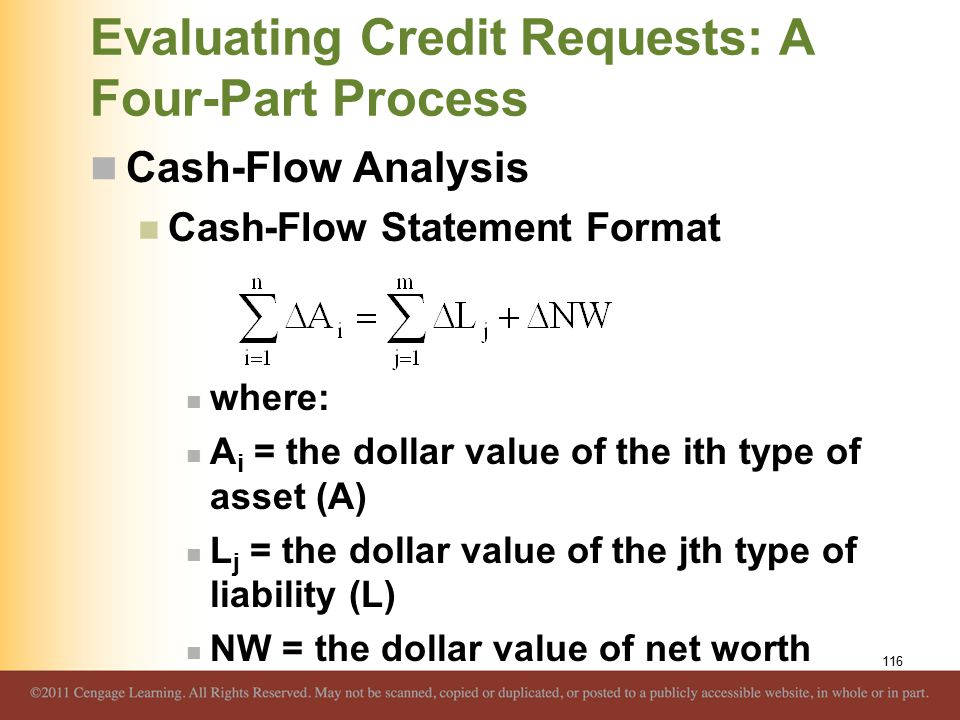 Evaluating Credit Requests: A Four-Part Process Cash-Flow Analysis Cash-Flow Statement Format where: A i = the dollar value of the ith type of asset (A) L j = the dollar value of the jth type of liability (L) NW = the dollar value of net worth 116