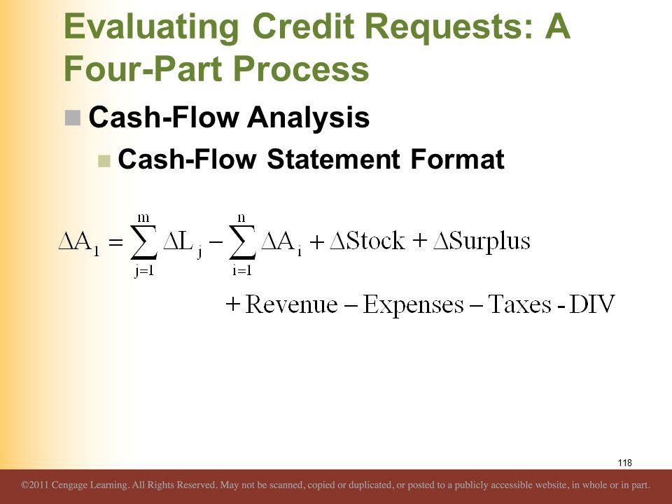 Evaluating Credit Requests: A Four-Part Process Cash-Flow Analysis Cash-Flow Statement Format 118
