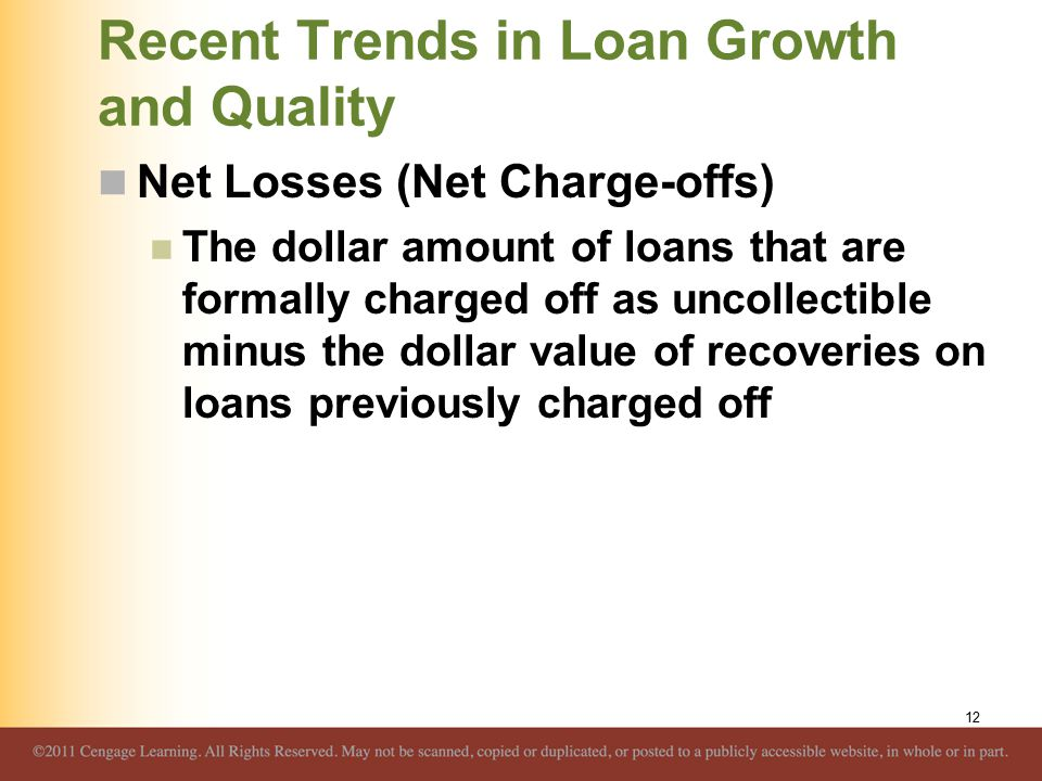 Recent Trends in Loan Growth and Quality Net Losses (Net Charge-offs) The dollar amount of loans that are formally charged off as uncollectible minus the dollar value of recoveries on loans previously charged off 12
