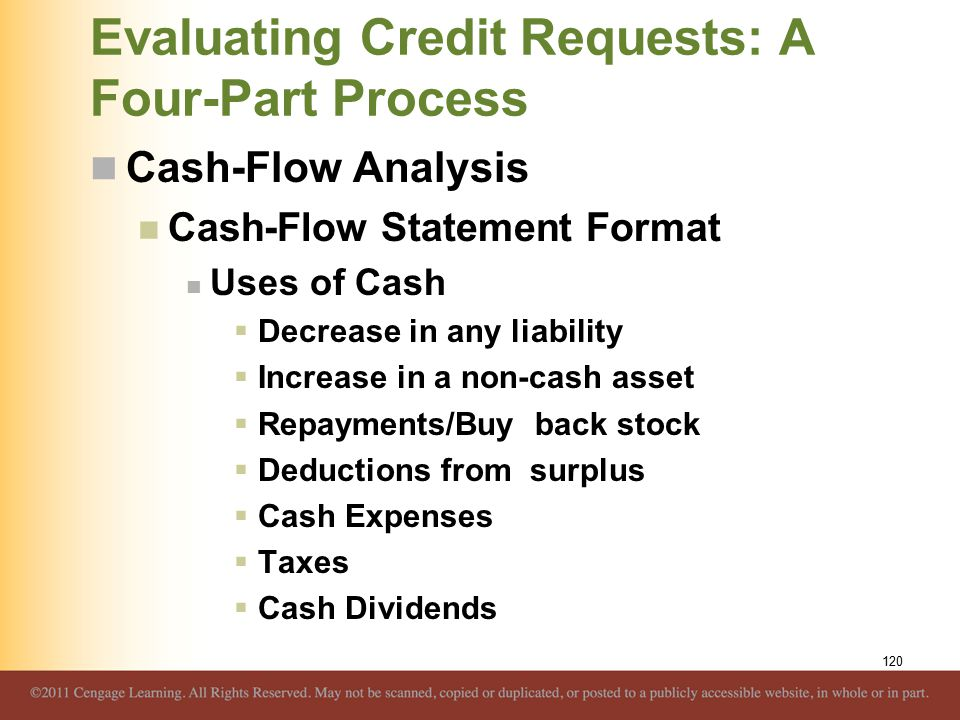 Evaluating Credit Requests: A Four-Part Process Cash-Flow Analysis Cash-Flow Statement Format Uses of Cash  Decrease in any liability  Increase in a non-cash asset  Repayments/Buy back stock  Deductions from surplus  Cash Expenses  Taxes  Cash Dividends 120