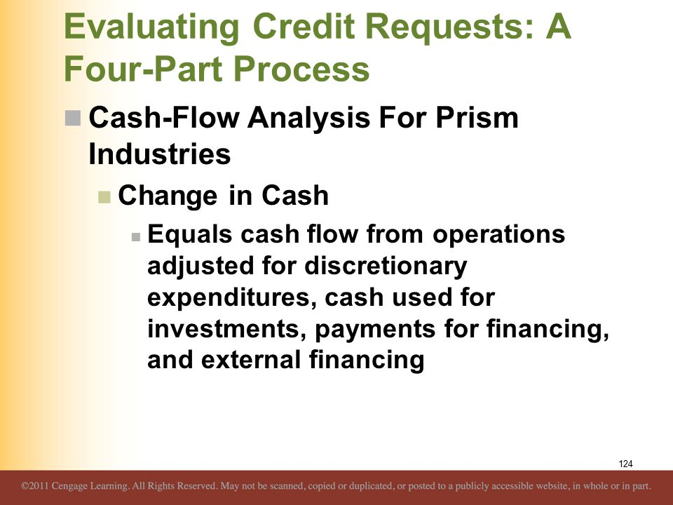 Evaluating Credit Requests: A Four-Part Process Cash-Flow Analysis For Prism Industries Change in Cash Equals cash flow from operations adjusted for d