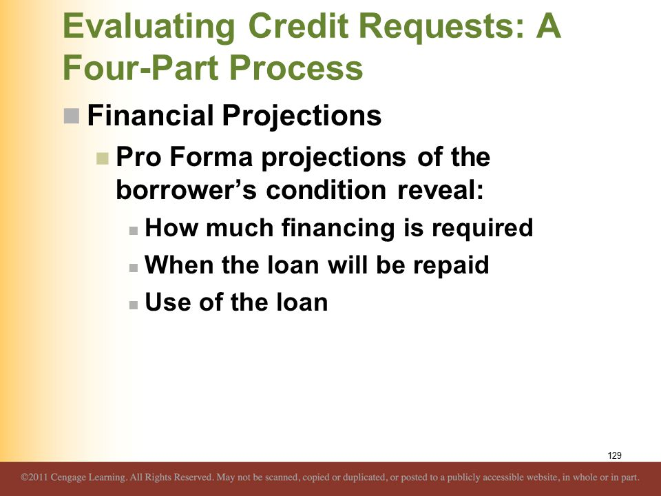Evaluating Credit Requests: A Four-Part Process Financial Projections Pro Forma projections of the borrower's condition reveal: How much financing is required When the loan will be repaid Use of the loan 129