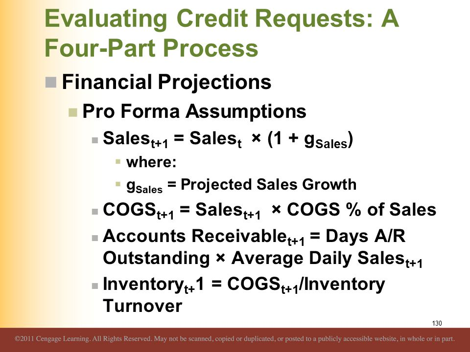 Evaluating Credit Requests: A Four-Part Process Financial Projections Pro Forma Assumptions Sales t+1 = Sales t × (1 + g Sales )  where:  g Sales =
