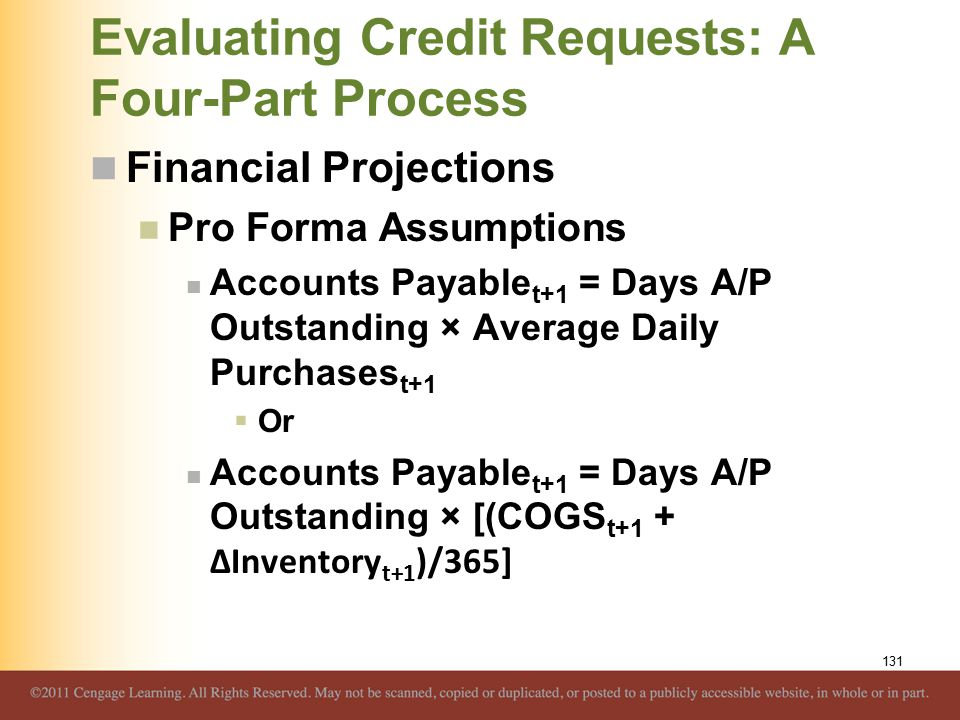 Evaluating Credit Requests: A Four-Part Process Financial Projections Pro Forma Assumptions Accounts Payable t+1 = Days A/P Outstanding × Average Daily Purchases t+1  Or Accounts Payable t+1 = Days A/P Outstanding × [(COGS t+1 + ΔInventory t+1 )/365] 131