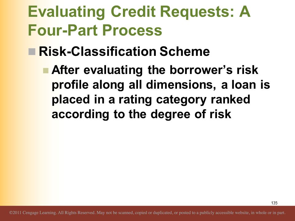 Evaluating Credit Requests: A Four-Part Process Risk-Classification Scheme After evaluating the borrower's risk profile along all dimensions, a loan is placed in a rating category ranked according to the degree of risk 135