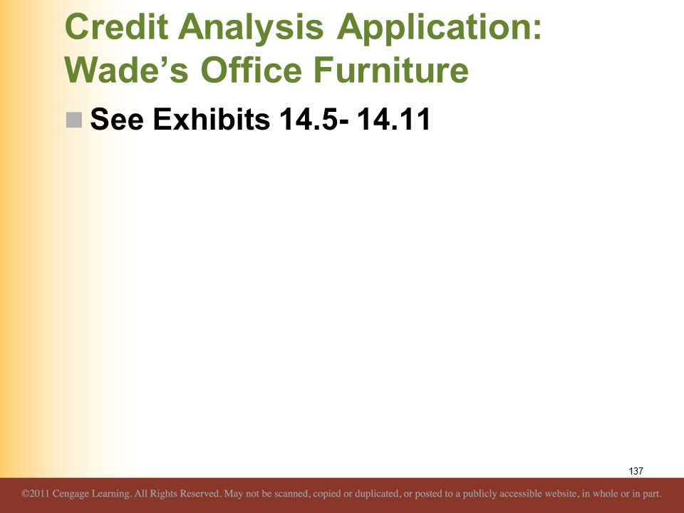 Credit Analysis Application: Wade's Office Furniture See Exhibits 14.5- 14.11 137